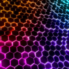 Abstract glow light color hexagonal background. Grunge Polygonal Hex geometry surface . Futuristic colorful technology texture concept. 3d Rendering.