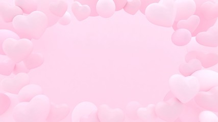 3d hearts background. Valentines day. Love wallpaper. Wedding. Engagement. Datting. Romantic poster. Passion. Pastel pink.