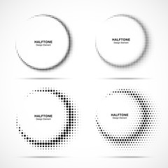Wall Mural - Halftone circle frame abstract dots logo emblems. Set for medical, treatment, cosmetic. Collection of Half moon halftone design elements.  Vector illustration.