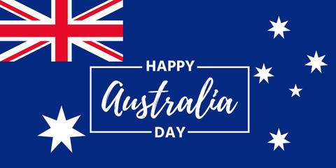 Happy Australia Day. Vector. Australia National Day banner with Australian Flag. Greeting card, poster, background template. Colorful illustration.