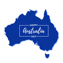 Australia Day. Vector. Banner for Happy Australia National Day with Australian map. Greeting card, poster, holiday background template. Colorful illustration.