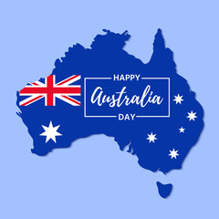 Australia Day. Vector. Banner for Happy Australia Day with Australian map and flag. Greeting card, poster, holiday background template. Colorful illustration.