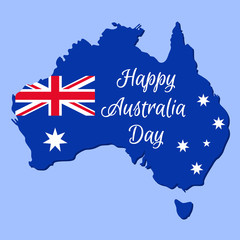 Happy Australia Day. Vector. Banner for Australia National Day with Australian map and flag. Greeting card, poster, holiday background template. Blue red illustration.