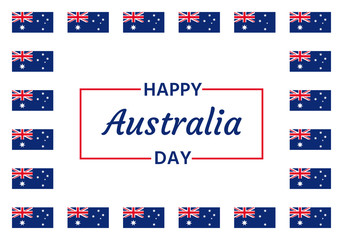 Happy Australia Day. Vector. Banner for Australia National Day with Australian flags. Greeting card, poster, holiday background template. Blue red illustration.