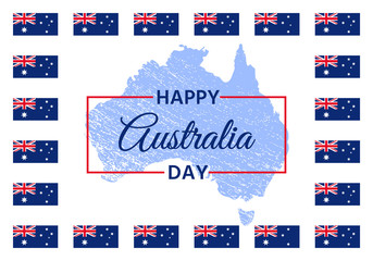 Australia Day. Vector. Happy Australia National Day banner with Australian flags, grange map. Greeting card, poster, holiday background template. Blue red illustration.