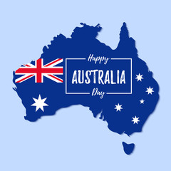 Australia Day. Vector. Happy Australia National Day banner with Australian map and flag. Greeting card, poster, holiday background template. Colorful illustration.