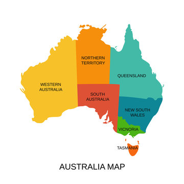 Australia map with regions. Vector. Australian state Western, South Australia, Northern territory, Queensland, New South Wales, Victoria, Tasmania. Color illustration. Simple flat design.