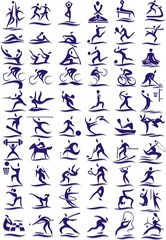 set of icons - sports - 60 pieces in vector