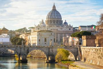 Saint Peter Basilica in Vatican city with Saint Angelo Bridge Fotomurales