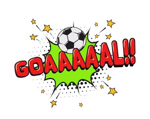 Loud shout of football GOAL speech bubble isolated vector illustration. Win in soccer match funny cartoon design