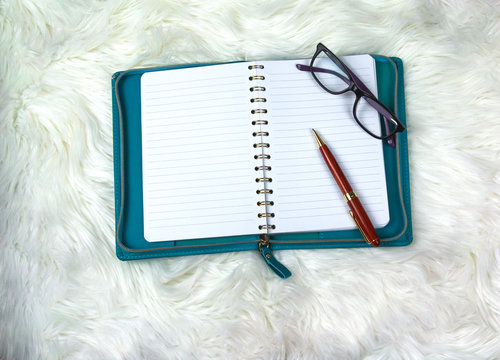 White fuzzy soft fur, purple reading glasses, and empty blank white notebook.