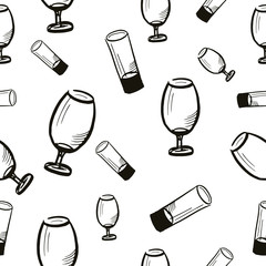 seamless vector pattern, wine glasses sketch, hand drawn, isolated on white background