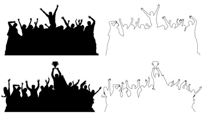 Silhouettes of dancing peoples, outline