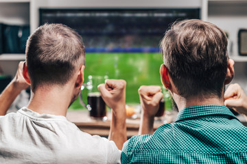 Two male friends watching live football game broadcast on tv