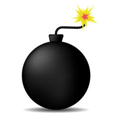 big round bomb, black powerful. sparkling wick.