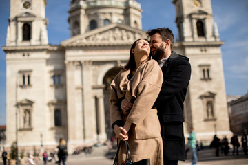 Loving couple in Budapest, Hungary