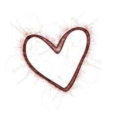 red heart shape ball pen doodle