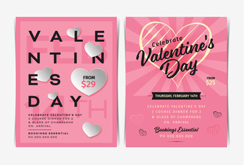 Set of Valentine's day invitation flyers template. Vector illustration.
