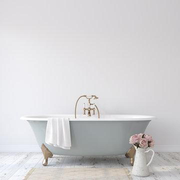 Romance bathroom. 3d render.