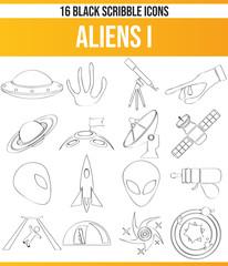 Scribble Black Icon Set Aliens I