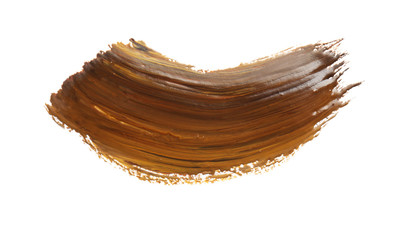 Abstract brushstroke of brown paint isolated on white