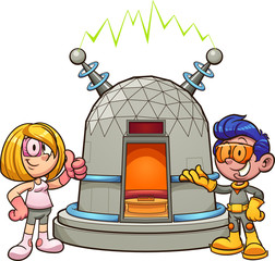Cartoon girl and boy wearing retro futuristic clothes showing a time machine.  Vector clip art illustration with simple gradients. Some elements on separate layers.