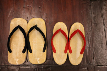 Geta traditional Japanese Wooden Sandals on the Floor