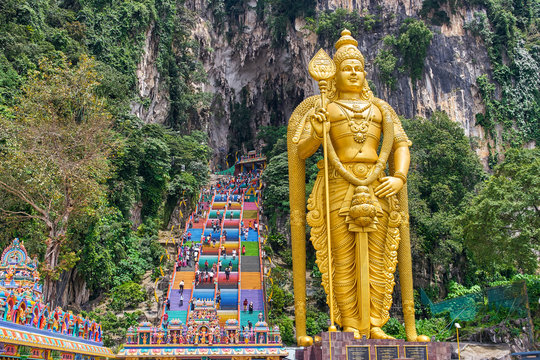 The Batu Caves Lord Murugan Statue and entrance near Kuala Lumpur, Malaysia