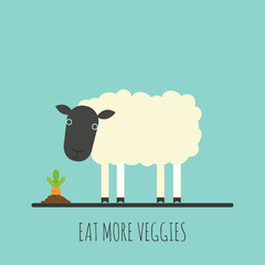 Flat sheep with sprout. Flat sheep icon. Eat more veggies. Vector illustration.