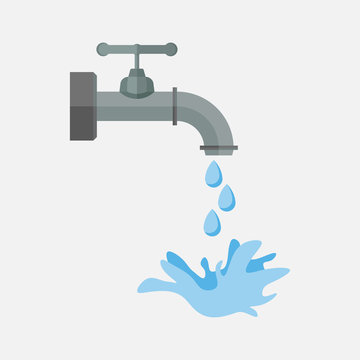 tap water with dripping water, old tap, leakage in the water pip