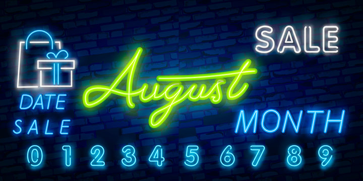 Neon symbol for August : Month Name with colorful elements : Vector Illustration. Glowing neon sign, bright glowing advertising, sales discounts