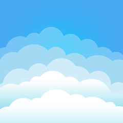 Sky and clouds. Cartoon cloudy background. Heaven scene with blue sky and white cloud. Isolated Vector illustration