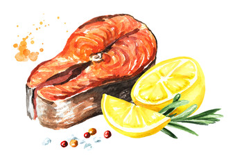 Delicious grilled salmon fish fillet with lemon, rosemary and spicies. Watercolor hand drawn illustration isolated on white background