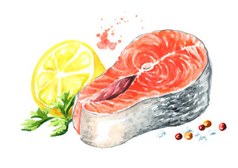 Salmon fish fillet with lemon and spicies. Watercolor hand drawn illustration isolated on white background