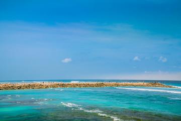 Beaut Sky Clouds. Beach Background. Clear Tropical Beach.
