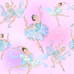 Ballerinas. Seamless pattern. Little princess. Vector illustration