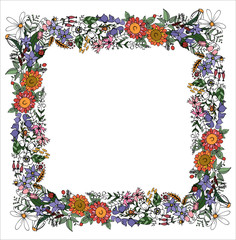 Square frame of summer field flowers