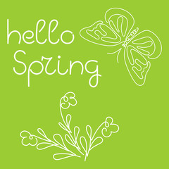 Hello spring - hand lettering vector. Butterfly, flower, Vector illustration on green background