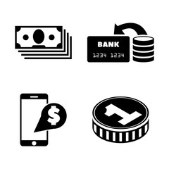 Dollar Money Cash. Simple Related Vector Icons