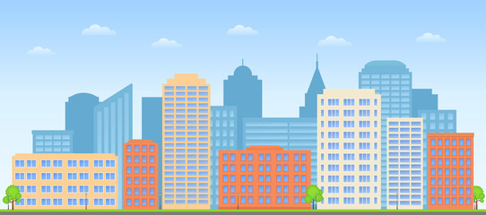 Cityscape. Vector. Buildings city background. Street skyline. Urban landscape. Skyscraper in flat design. Town exterior. Cartoon illustration. Modern business houses and offices. Horizontal banner.