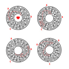 A set of round mazes. Game for kids. Puzzle for children. Labyrinth conundrum. Flat vector illustration isolated on white background. With answer.