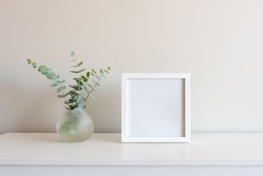 Eucalyptus leaves in small round glass vase next to blank square picture frame on white shelf against neutral wall background