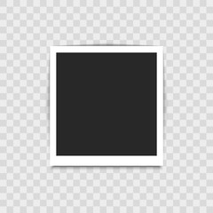 Realistic empty photo frame on transparent background. Vector illustration for your design.