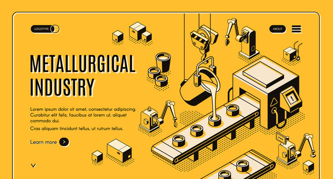 Metallurgical industry technologies isometric vector web banner, landing page. Pouring molten metal from ladle in molds on automated and robotized foundry manufacturing conveyor line art illustration