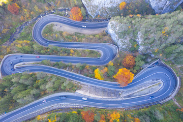 Curvy road in autumn forest