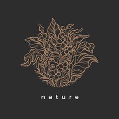 Vector nature symbol in circle. Organic round frame