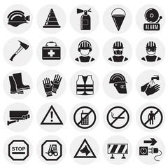 Safety icons on circles background for graphic and web design, Modern simple vector sign. Internet concept. Trendy symbol for website design web button or mobile