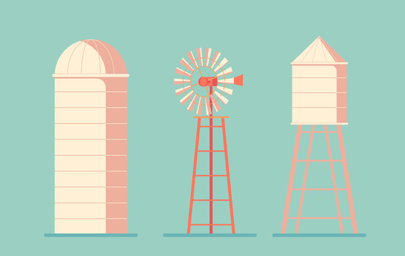 Agriculture. Farm building. Drinking water tower. Windmill waterpump and silo srorage barn for corn and harvest.