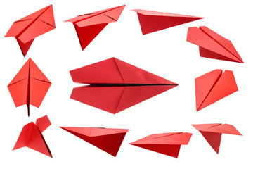 Red paper plane  isolated on a white background