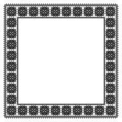 Square black and white floral framework. Decorative ornament in Arabic style. Tiles, arabesque. Ornate napkin. Swatch is included in EPS file.